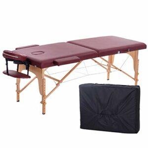 Middle Lit de Massage Pliable Pliable en Bois Massif physiothérapie lit de Massage Tatouage lit de beauté élargi ménage Multifonctionnel (Charge 500 kg)