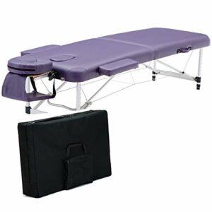 Middle Table de Massage multifonctionnelle Pliante Super Douce, Cuir PU de Haute qualité et éponge Haute densité pour Les Tatouages et Le Massage du Visage (Charge 500 kg)
