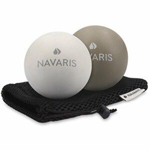 Navaris 2X Balle de Massage – Boule Lacrosse Auto-Massage Muscle Pieds Dos épaules – pour Crossfit Pilates Yoga Fitness rééducation physiothérapie