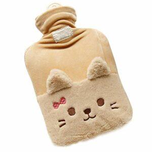 Qiekenao Bouillotte en peluche avec motif chat et nœud – Pour enfants et adultes – 1000 ml