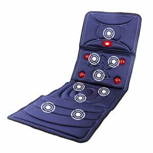 QRFDIAN Tapis de massage complet pour le corps coussin de massage chauffant multi-fonctions pour le corps | masseur de thérapie thermique | 9 moteurs de massage pliables, 8 modes, bleu