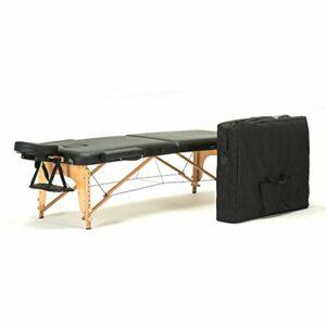 Table de Massage Portable lit Table de beauté canapé Pieds en Bois de hêtre, réglable en Hauteur (60-88)
