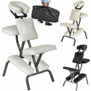 TecTake Chaise de Massage avec Sac de Transport – diverses couleurs au choix – (Blanc)
