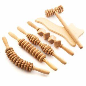 Tuuli Accessoires Maderotherapie Kit de Massage Anti Cellulite Drainage Lymphatique Masseur Rouleau Bois