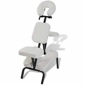 vidaXL Chaise de Massage de Traitement Pliante Réglable et Portable Blanc Sac Inclus