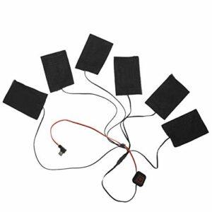 VINGVO Coussin Chauffant USB, Veste chauffante 6-en-1 Kit 1 Ensemble de vêtements Chauffants, Noir pour extérieur Enfant Adulte Hiver