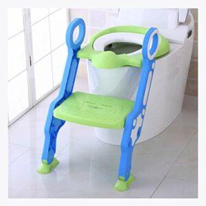 XIAOYUER Siège De Toilette Bébé Bébé Pliant Réglable Échelle Pot Formation Chaise Escabeau Enfant Sécurité Toilette Formateur Siège Pot pour Enfants (Color : Green)
