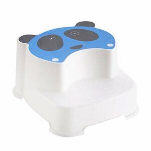 XIAOYUER Tabouret Double pour Bébé Le Panda Clignotant pour Enfants Tabouret Antidérapant pour Enfants (Color : Blue)