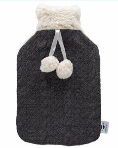 axion – Bouillotte avec housse duveteuse – en peluche noir et blanc avec pompons