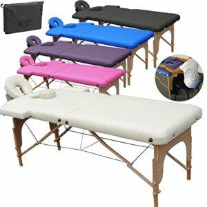 Beltom Table de Massage 2 Zones Portables Cosmetique lit esthetique Pliante Reiki + Sac – Crème