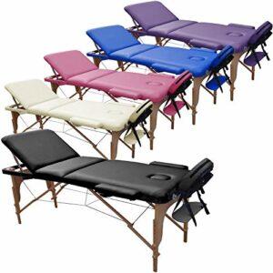 Beltom Table de Massage 3 Zones Classique Portables 180 x 56 cm. – ne pèse Que 13,3 kg. et avec Accessoires 14,5 kg. – Cosmetique lit esthetique Pliante Reiki + Sac – Noir