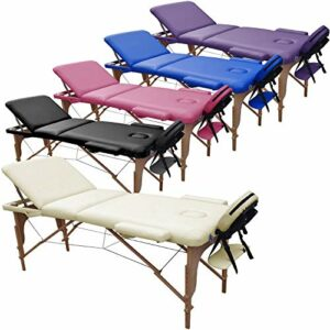 Beltom Table de Massage 3 Zones Classique Portables 195 x 70 cm. Cosmetique lit esthetique Pliante Reiki + Sac – Crème