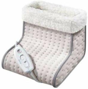 Chauffe-pieds avec garniture en peluche, broche chauffage électrique 3 niveaux de température automatiquement fermé, lavable à la machine,Grey