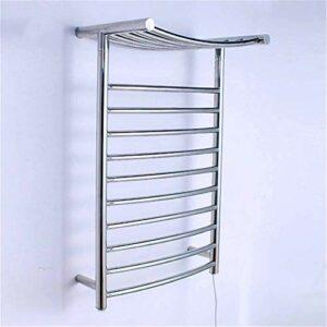 Chauffe-serviettes chauffant électrique en acier inoxydable – 10 barres – Fixation murale avec étagère – Poli miroir – À fixer au mur