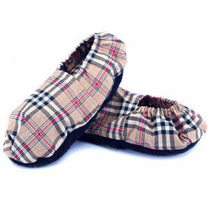 Chaussons Chauffants Micro Ondes – Pantoufle Chauffante au Micro-Onde (Taille Unique) – Bouillotte Pieds Froids – Housse Lavable, 100% Coton et Odeur de Lavande (Oxford)