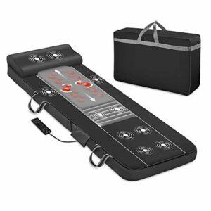 Comfier Tapis de massage complet du corps, masseur de dos shiatsu avec chaleur et matelas de massage vibrant à 10 moteurs, coussin de massage shiatsu pour lit, les cuisses et les jambes
