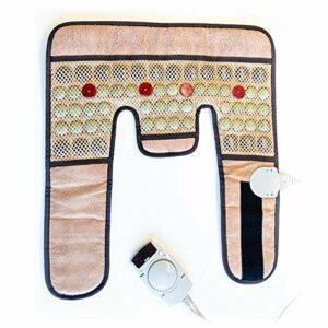 Coussin Massage Chauffant Réglable Nuque/Épaule – Avec pierres polies de Jade et Tourmalines, avec 4 lumières Photons, Ions Négatifs et Infrarouges – Apaise douleurs du dos- Arthrose