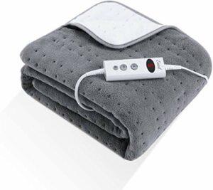 Couverture chauffante électrique de 150x80cm, 10 niveaux de chauffage avec minuterie sélectionnable lavable en machine