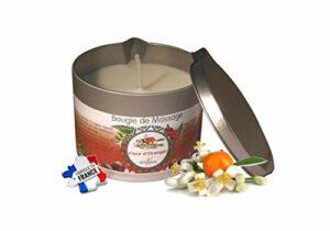 déliktess® – Bougie de massage Végétale 175 ml – parfums au choix : Monoï – Noix de Coco – Fleur d'Oranger ou Vanille- Fabriquée en France (Fleur d'oranger)