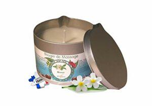 déliktess® – Bougie de massage Végétale 175 ml – parfums au choix : Monoï – Noix de Coco – Fleur d'Oranger ou Vanille- Fabriquée en France (Monoï)