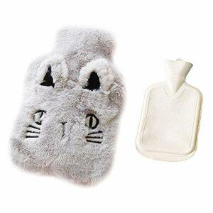 Drizzle Bouillotte avec housse en polaire douce Série animale Classic Procure chaleur et confort (Cat gray)