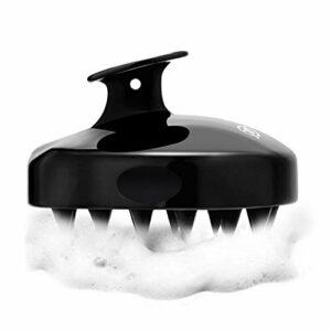 FReatech Masseur Tete [Humide & Sec], Brosse à Cheveux en Silicone pour Shampooing et Massage Cuir Chevelu, Nettoyage en Profondeur et Exfoliation Douce, Stimuler la Croissance des Cheveux, Noir