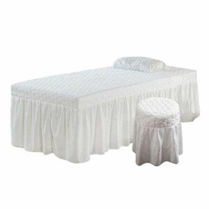 Generic Kit de Literie de Massage de Beauté Jupe de Table Taie d'oreiller Housse de Tabouret – Blanc, 70x190cm
