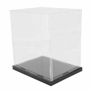 HEALLILY Clair Acrylique Vitrines Assembler Comptoir Boîte Organisateur Cube Stand Protection Vitrine avec Base Noire pour Figurines Jouets de Collection