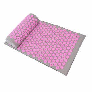 Le tapis de yoga favorise la circulation sanguine 68 x 42 cm non irritant garde le corps en bonne santé pour améliorer la qualité du sommeil(Light gray powder button)