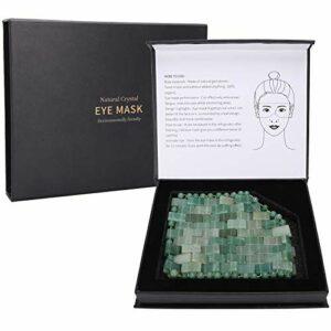 Masque de sommeil en jade, masque pour les yeux masseur pour le visage Jadestone naturel apaise la Fatigue réduire le sommeil Relax outil de soin(Vert)