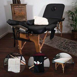 MASSUNDA Massunda All Inkl Chaise de massage pliante et réglable en hauteur – Table de massage mobile en bois massif avec housse en éponge, accoudoirs et dossiers, appuie-tête ergonomique (Noir)