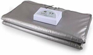 P3 Couverture de sauna chauffante numérique infrarouge lointain, contrôleur 2 zones aide à réduire la perte de poids, aide à la récupération, circulation sanguine, soins de la peau (argent)