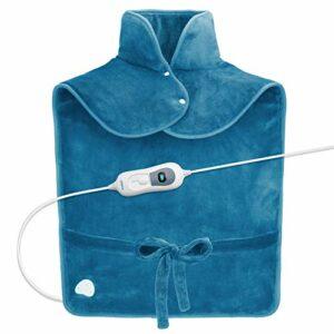 RENPHO Coussin chauffant pour soulager la douleur de dos, 60 x 90 cm pondéré Coussin chauffant pour le cou et les épaules, Faste-chauffage avec 3 réglages de température, bleu