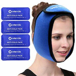 sac de glace pour le visage, Mâchoire, tête et menton – 4 packs de gel chaud et froid réutilisables avec un soulagement ajustable pour les blessures, la chirurgie buccale et faciale, la migraine