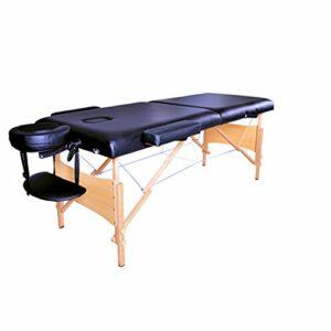 Table de Massage Pliante Professionnel en Bois, Lit Cosmétique 2 Sections Massage Portable Ergonomique, Noir