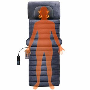 Tapis de Massage Chauffant avec 30 Têtes de Massage et 10 Moteurs de Vibration et 9 Modes de Vibration pour Tapis de Matelas, Complet Soulez le Cou, le Dos, la Taille, les Jambes Douloureuses