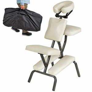 TecTake Chaise de Massage avec Sac de Transport – diverses couleurs au choix – (Beige)