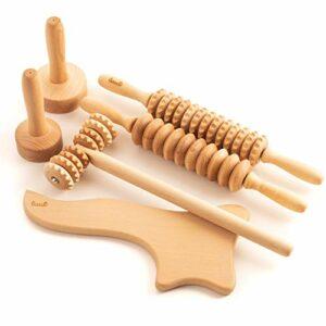 Tuuli Accessoires Maderotherapie Kit de Massage Tasse de Massage Anti Cellulite Drainage Lymphatique Masseur Rouleau Bois