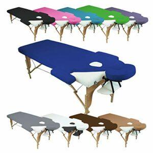 Vivezen ® Drap housse de protection 4 pièces en éponge pour table de massage – 10 coloris – Norme CE
