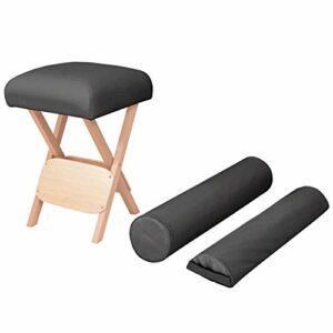 Zerone Tabouret de Massage Pliable, Siège Moderne de Table de Massage Repose-Pieds de Massage Rembourré avec 2 Traversins pour Salon de Beauté