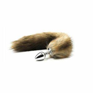 Artificielle Anạl Plụg queue de renard moelleux queue de renard en acier inoxydable B.ûtt Pl'ug pour femme hommes Gay Sẹxy accessoires (Marron)