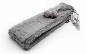 axion – bouillotte longue avec housse – en peluche gris avec pompons