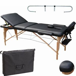 Beltom Table de Massage 3 Zones Noir + Porte Rouleau Cosmetique lit esthetique Pliante