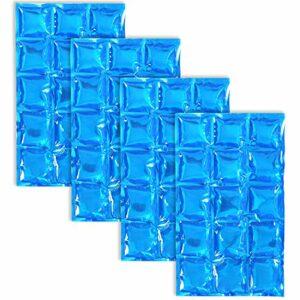 COM-FOUR® pack de glace flexible 4x – compresse de refroidissement avec 15 cellules de refroidissement – pack de refroidissement pour la maison, le sport et les loisirs (04 pièces – 25 x 15cm – bleu)