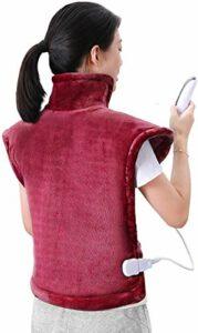 Coussin chauffant 60 * 90cm pour le dos, les épaules et le cou Chauffage rapide à surface ultra-douce avec température réglable Gardez au chaud pendant les jours froids – Rouge foncé