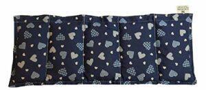 Coussin chauffant à grains – 50 x 20 cm – Bleu – 100 % coton