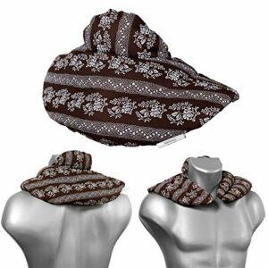 Coussin de nuque avec col montant – Coussin aux noyaux de cerises – Confortable coussin thermique aux graines pour la nuque (Design: Brun à fleur)