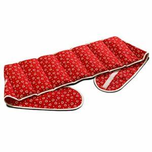 Coussin-ceinture, 135cm, aux noyaux de cerises à sept compartiments avec fermeture à bande auto-agrippante – Ceinture-bouillotte – Coussin thermique aux graines XXL, Rouge avec des coeurs