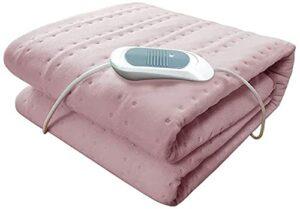 Couverture à Jet Chauffant électrique pour canapé/lit – Fleece de Peluche Luxueuse Super Douce – 3 réglages de Chaleur et 8 Heures d'arrêt Automatique-Rose Improve