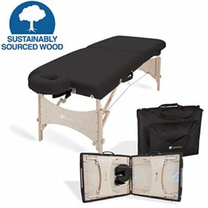 EARTHLITE Harmony DX Table de massage portable – Design écoresponsable, têtière Deluxe ajustable, érable massif, qualité aéronautique, jusqu'à 300kg